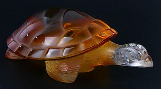 "LALIQUE FRANCE AMBER CRYSTAL 6"" TURTLE SCULPTURE"