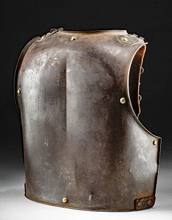 19th C. French Cuirass Back Plate w/ Straps