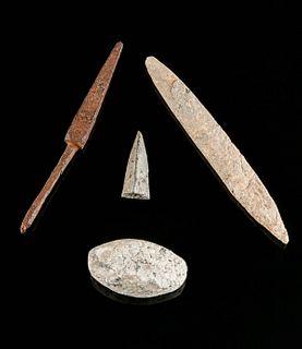 Lot of 4 Roman Bronze, Iron, Bone, & Lead Weapons