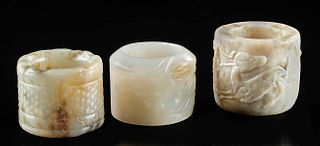 Lot of 3 Chinese Qing Dynasty Nephrite Archer Rings