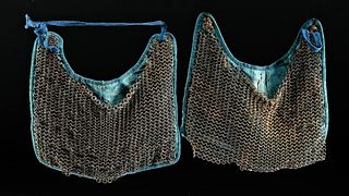 Lot of 2 Japanese Edo Cloth & Chainmail Thigh Guards