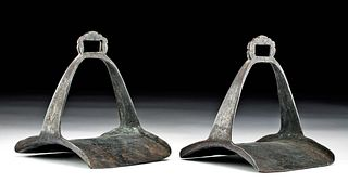 Pair of 19th C. Chinese Qing Dynasty Steel Stirrups