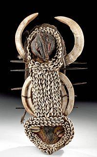 20th C. Papua New Guinea Abelam Tusk & Shell Mouth Mask