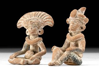 Lot of 2 Teotihuacan Pottery Seated Figures