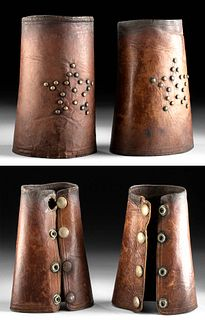 Lot of 2, Vintage American Leather Cuffs w / Brass Star