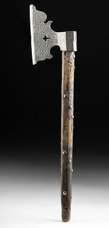 20th C. European Axe w/ Decorated Blade & Wood Handle