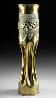 French WWI Brass Trench Art Shell Case Vase - Leaves