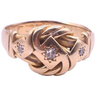 Antique 18 Karat Diamond Lover's Knot Ring, Hallmarked Birmingham 1905