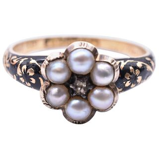 Antique Enamel, Pearl Cluster, Diamond and Gold Memorial Forget-Me-Not Ring, Hallmarked Birmingham 1841