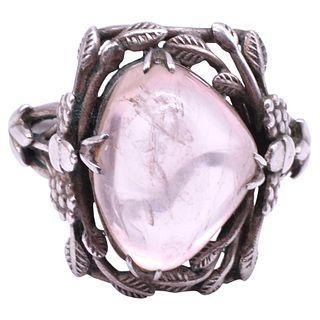 Silver Rose Quartz Ring, C.1920