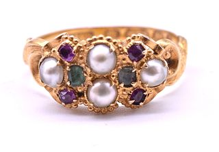 HM 1869 Multi-Stone Ruby Emerald and Pearl Ring of Suffrage Colors