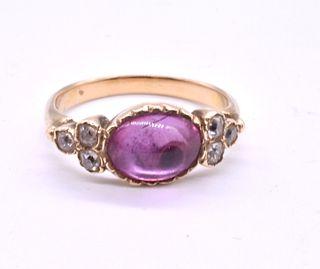 18 Karat Late Victorian Pink Tourmaline and Diamond Ring c1880
