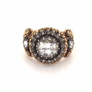 Austrian 18 Karat Rose Diamond Repousse Ring c1840