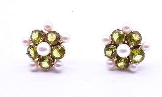 C1940 Peridot & Pearl Earrings