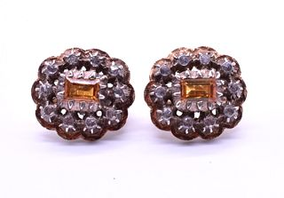 Antique Victorian Citrine and diamond cluster Earrings, c1880