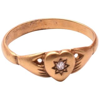 Antique Hands Clasping Heart Ring with Star Diamond C1860