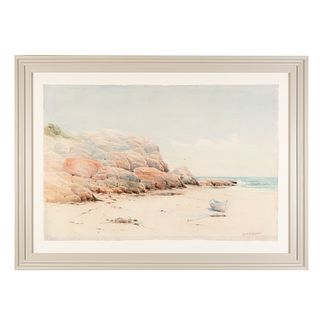 Watercolor of a shoreline scene (1880) by Melbourne Havelock Hardwick (1857-1916)
