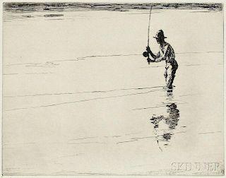 Frank Weston Benson (American, 1862-1951)      Casting for Salmon