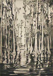 Alfred Heber Hutty (American, 1877-1954)      In Cypress Gardens