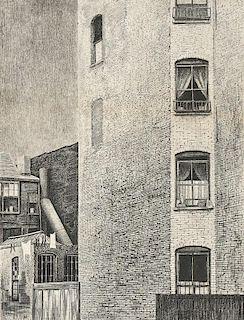 Armin Landeck (American, 1905-1984)      Tenement Walls