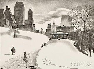 Louis Lozowick (Russian/American, 1892-1973)      Winter Fun