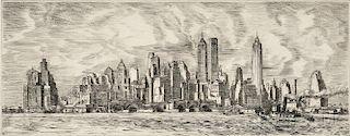 Reginald Marsh (American, 1898-1954)      N.Y. Skyline