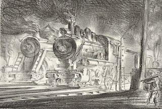 Reginald Marsh (American, 1898-1954)      Switch Engines, Erie Yards, Jersey City, Stone No. 3