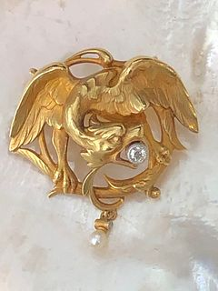 Antique Gold and Diamond Falcon Pin