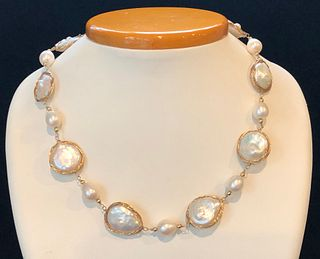 White Baroque Pearl and Sterling Silver Vermeil Wire Necklace