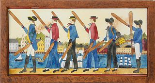 "Judith Brinck Folk Art Watercolor, ""Paddle Parade"""