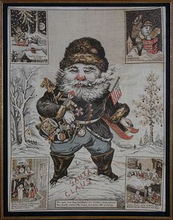 Framed Santa Claus Printed Linen Towel, 19th c.