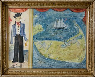 "Kolene Spicher Folk Art Map of Nantucket, ""The Sailor From Sconset"", Watercolor"
