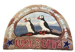 "Jill Beckwith Puffin ""Welcome"" Hooked Rug"