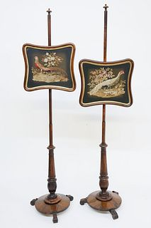 Pair of English Regency Pole Screens, circa 1840