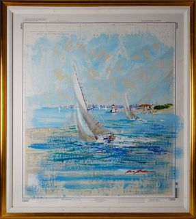 "Kerry Hallam Acrylic on Chart, ""Sailing Round Brant Point"""