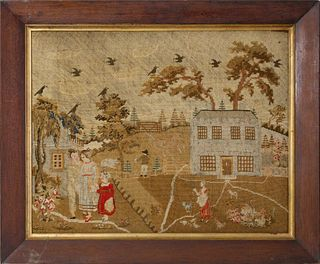 "English Needlework Embroidery, ""Farmhouse and Family Scene"", 19th c."