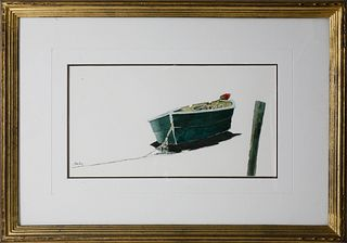 "Roy Bailey Watercolor On Paper ""Lone Dory"""