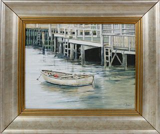 "Roy Bailey Oil on Canvas ""View of a Dory at North Wharf"""