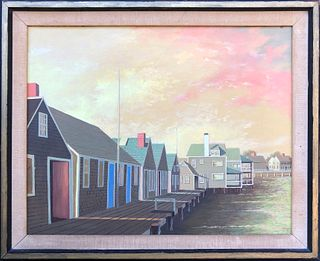 "Paul Crosthwaite Oil on Masonite ""Old North Wharf"""