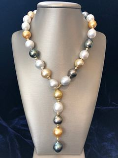 16mm - 12.5mm South Sea Pearl Lariat Necklace