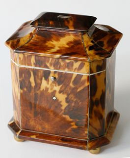 Regency English Single Compartment Tortoiseshell Tea Caddy, ca. 1800