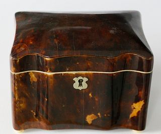 Diminutive English Tortoiseshell Tea Caddy, ca. 1820