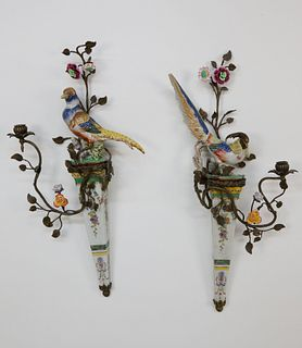 Pair of Castilian Porcelain and Gilt Metal Bird Sconces