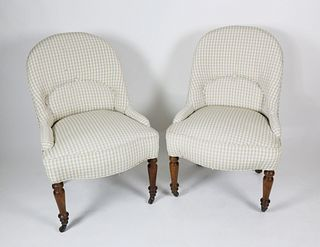 Pair of  Gingham Upholstered Slipper Chairs