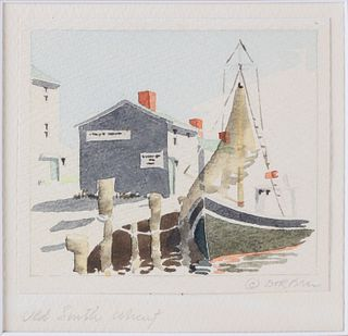"Doris and Richard Beer Miniature Nantucket Watercolor, ""Old South Wharf"""