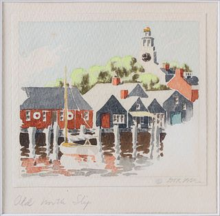 "Doris and Richard Beer Miniature Nantucket Watercolor, ""Old North Slip"""