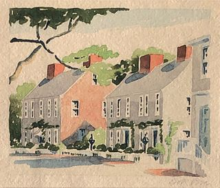 "Doris & Richard Beer Watercolor on Paper ""Fair Street"""