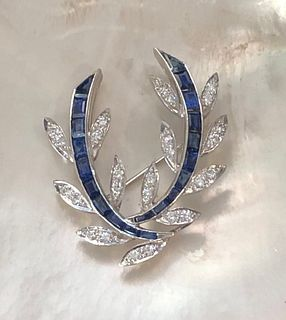 Ladies Vintage Diamond and Sapphire Brooch