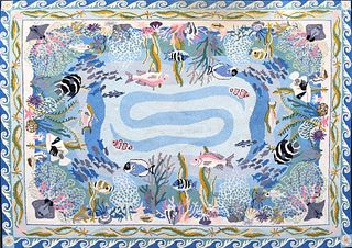 """Claire Murray Hooked Rug """"Tropical Sea Life"""""""
