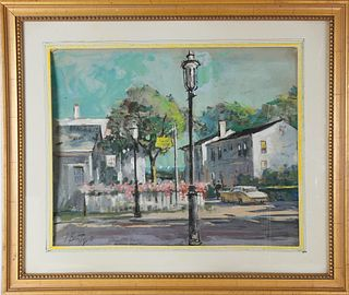 """Frank Beatty Pastel and Gouche on Artist's Paper, """"Penny a Day School, Nantucket"""""""